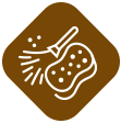 Brown icon with a sponge and a feather illustration