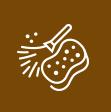 Icono romboidal en color marrón con dibujo de esponja y de plumero